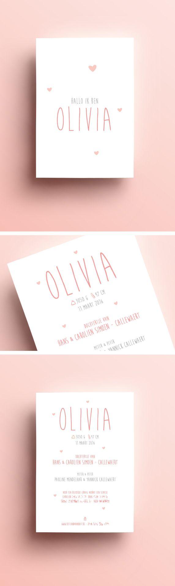 Hallo ik ben Olivia pink // roos // girl // meisje //hartjes // olivia // te schattig // geboortekaartje