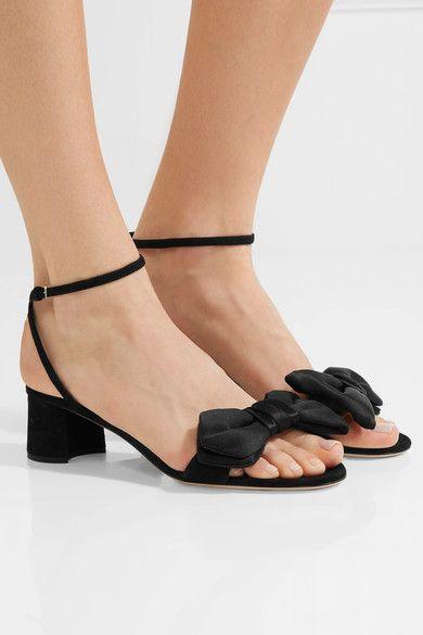 Miu Miu | Bow-embellished satin sandals | NET-A-PORTER.COM