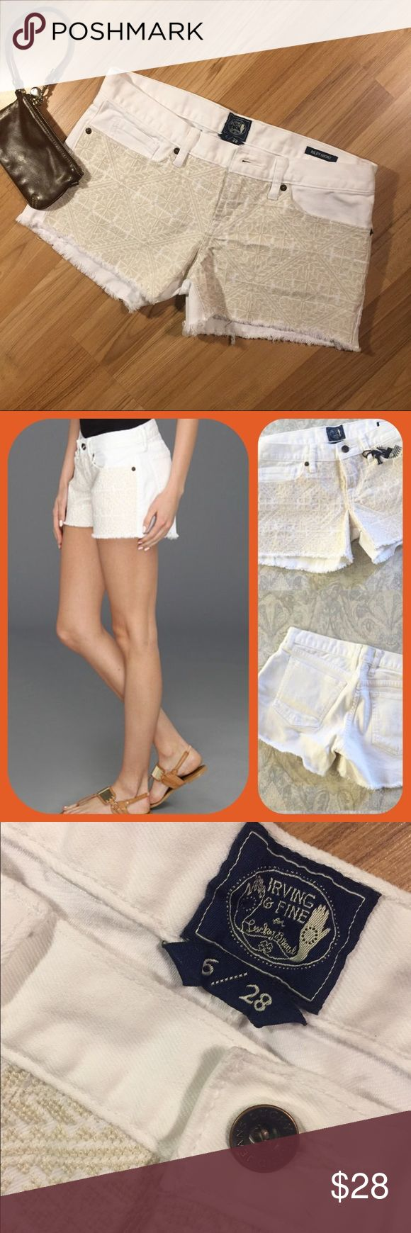 🆕🌻 L U C K Y Irving & Fine Riley Shorts 🆕 WOTS 🌻 Tonal embroidery shorts that are off white and perfect! Beautiful, never worn and they go with everything!         ** 3 in inseam, 8 in rise,  16.5 in across flat. Pics for details ( Lucky model and AE wristlet not included! ) Size 6/ 28 Lucky Brand Shorts
