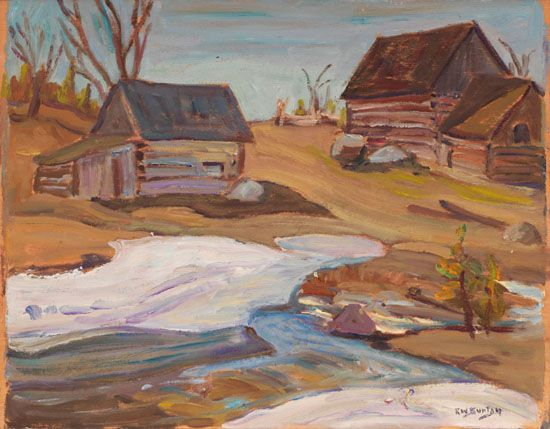 Ralph Wallace Burton - Farm in Lanark Ontario 10.5 x 13.5 Oil on board