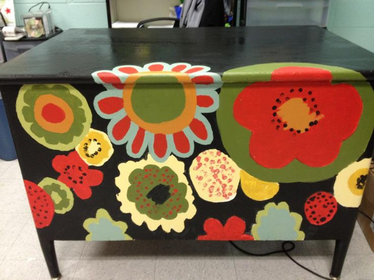 I found an old wooden desk and repurposed it using my fabric for inspiration--The drawers on the other side are all different colors of the flowers--I took my fabric to Lowe's and had them match about 8 of my favorite colors in the little sample bottles and then used them to paint my desk, the legs of a wooden table and so on. I still have paint left over. Samples are the perfect answer to this type project. Waxed the desk when painting was completed.