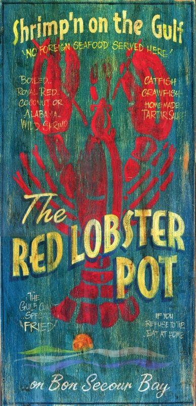 Lobster Pot - Vintage Beach Sign: Beach Decor, Coastal Decor, Nautical Decor, Tropical Decor, Luxury Beach Cottage Decor, Beach House Decor Shop