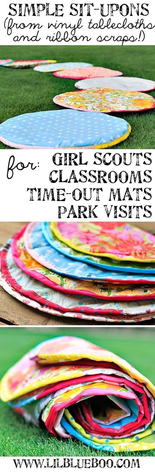 "Love this!  ""Sit upons"" using vinyl table cloths and ribbon scraps.  Fun for summer activities!"