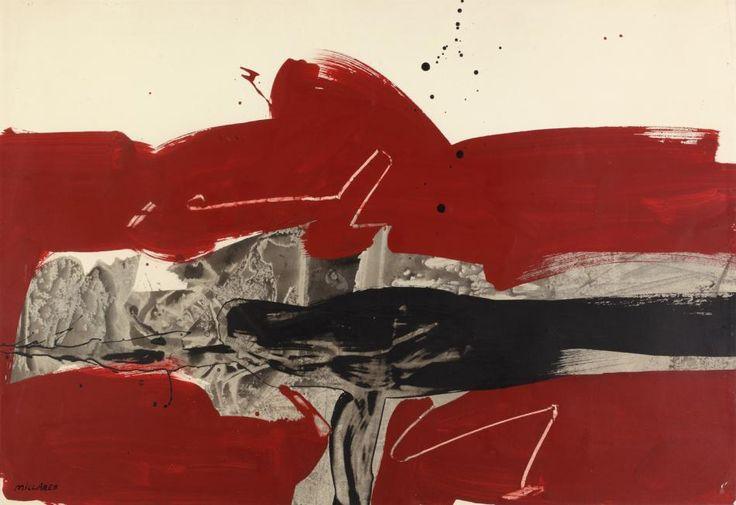 """M. Millares, """"Composition à fond rouge"""", técnica mixta sobre papel 48,5 x 71 cm."""