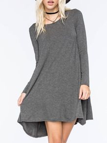 Grey Round Neck Casual Dress