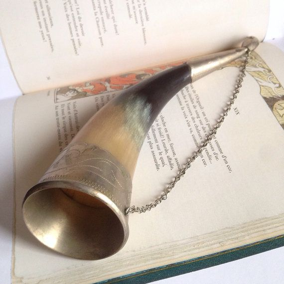 Vintage Drinking Horn Viking Drinking Horn by SovietHardware