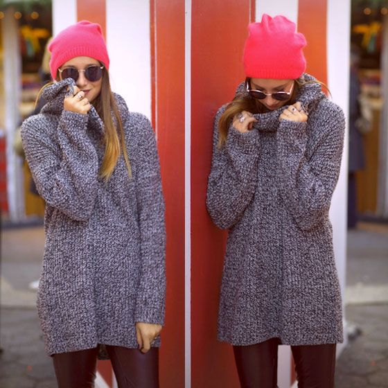 #stealthelook #look #looks #streetstyle #streetchic #moda #fashion #style #estilo #inspiration #inspired #calca #couro #gorro #oculos #sueter #pink
