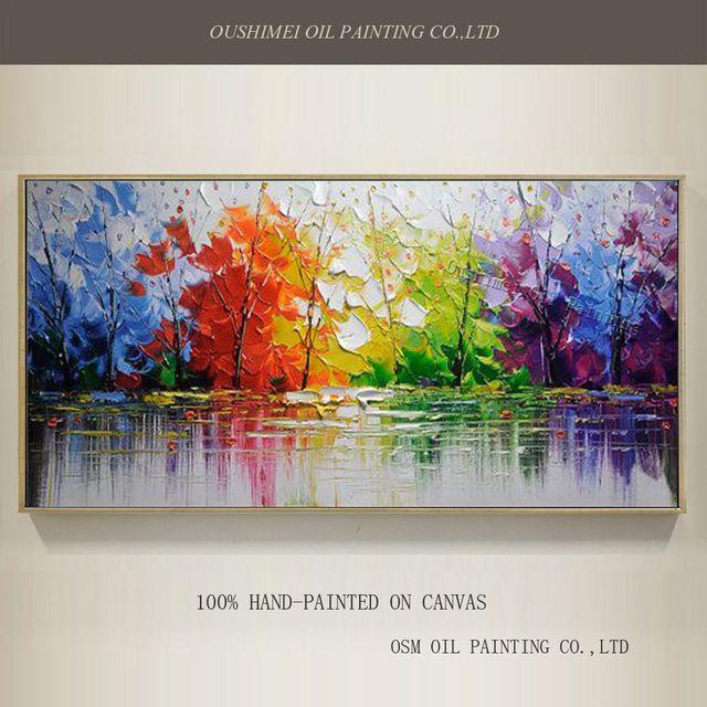 En gros de Haute Qualité Arbres Abstraits Peinture À L'huile Sur Toile À La Main Belle Couleurs Abstrait Paysage Arbres Peintures À L'huile