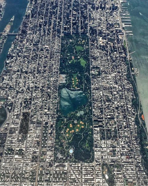 Picture of the day for June 15 2016 at 04:40PM from 'Daily Overview;  Wow look at Central Park in New York City. The park spans 843 acres which is 6% of the island of Manhattan. One of the most influential innovations in the parks design was its separate circulation systems for pedestrians cyclists horse riders and cars. The park contains numerous tennis courts and baseball fields an ice-skating rink and a swimming pool. It also serves as the finish line for the New York City Marathon and…