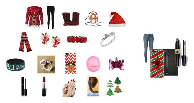 """""""It's Christmas!"""" by sarah-blevins on Polyvore featuring Frame Denim, Hollister Co., Donna Karan, Casetify, Forever Collectibles, Kate Spade, Eos, Max Factor, MAC Cosmetics and Chanel"""