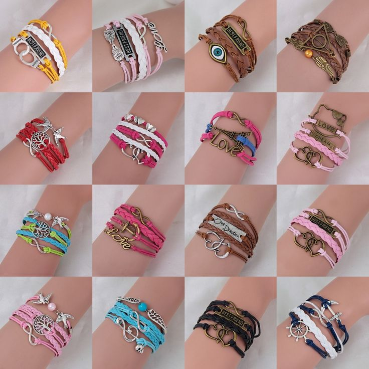 1PC /Braided Pink Color Leather Wax Cord LOVE Symbol Hello Kitty Bracelet Fashionable Women Jewelry