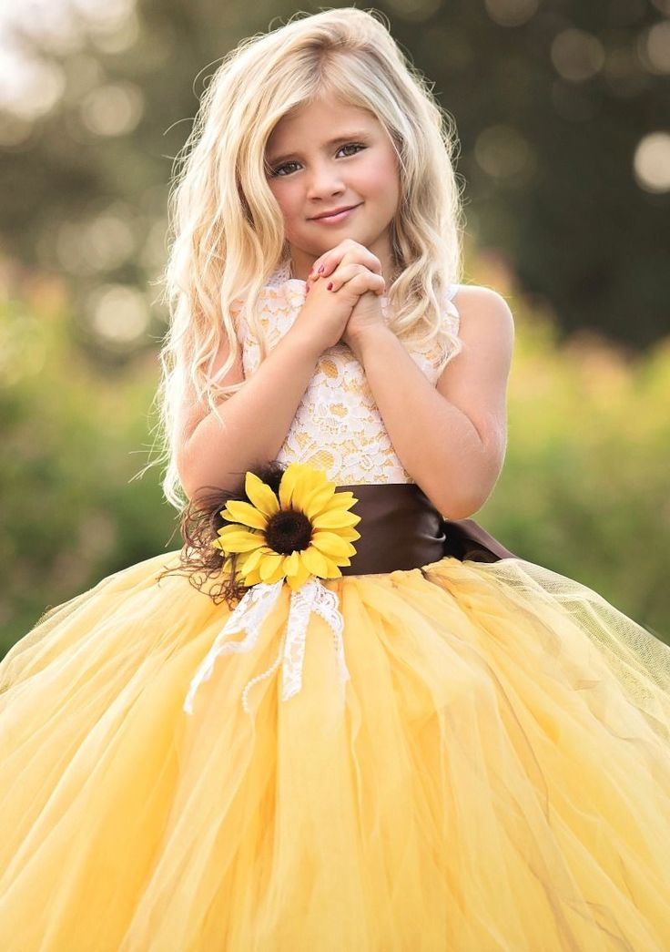 Sunflower Flower Girl Dress Wedding Inspiration Fall 2016 See more here…