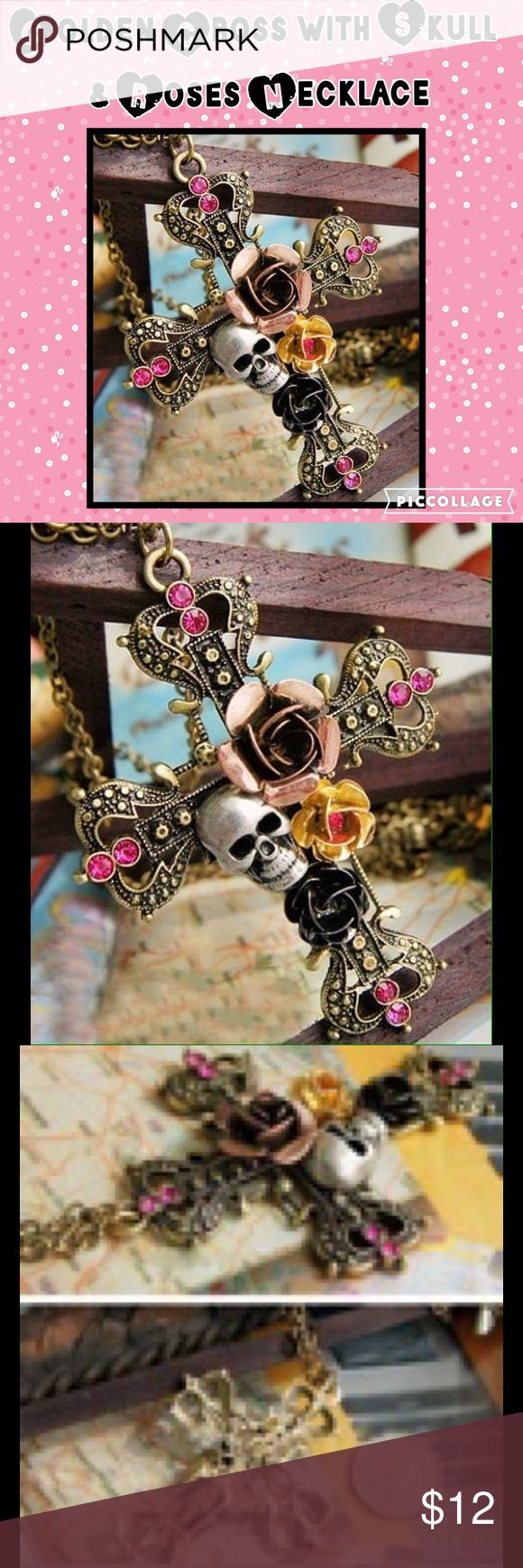 Golden Cross with Skull & Roses Necklace NWT! Golden Cross with Skull  & Roses Necklace NWT! Jewelry Necklaces
