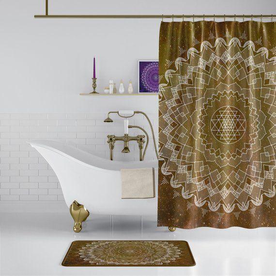 Golden Brown Mandala Shower Curtain Boho Chic Sacred Geometry