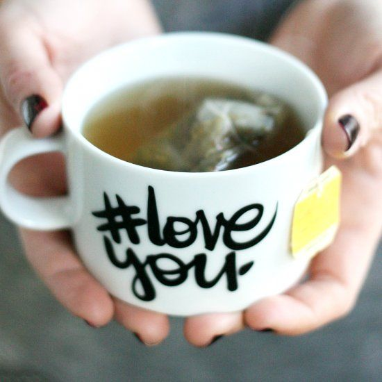 Make these fun mugs using vinyl for your Valentine!