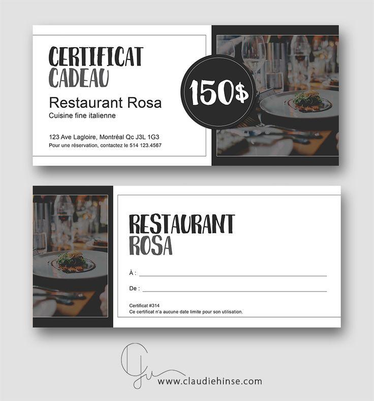 Modèle de chèque cadeau conçu dans le cadre d'une offre de restauration.  Claudie Hinse Infographie & Marketing