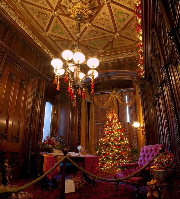 Christmas Decorations In Victorian England: Victoria Mansion, Portland Maine The Library