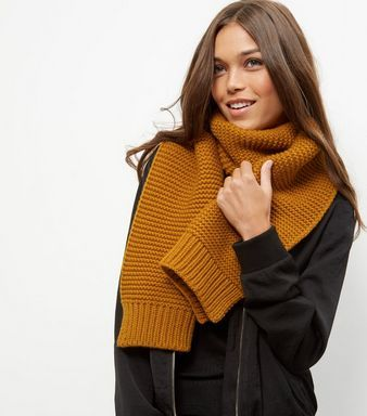 Brown Ribbed Knitted Scarf | New Look
