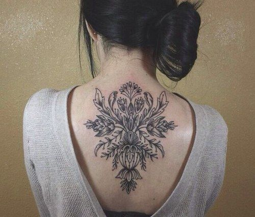 49 Beautiful Back Neck Tattoos: Floral #back #neck #tattoos