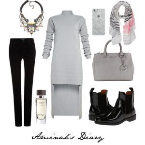 http://aminahshijabdiary.wordpress.com/ #hijab #muslima #fashion #style #modern #outfit #look #dress #grey #boots #black