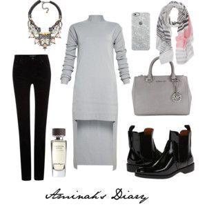 http://aminahshijabdiary.wordpress.com/ #hijab #muslima #fashion #style #modern #outfit #look #dress #grey #boots #black