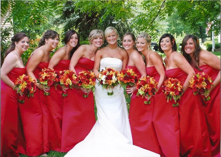 Bridesmaids in Bill Levkoff European satin in euro red www.pagesixskippack.com