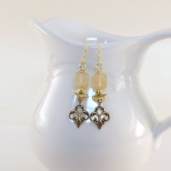 Last chance!!  New Lower price!  Only $16!    SALE... Antique Gold And Cream Earrings  Czech by CinLynnBoutique