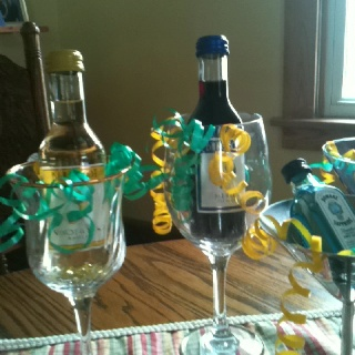 Wedding shower favors...we can stick with the wine theme...this could be pretty reasonably priced if you get the wine glasses from the dollar store