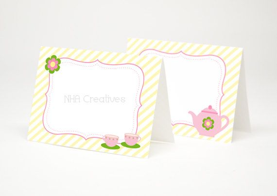 tea party themed place cards - teapot and teacups