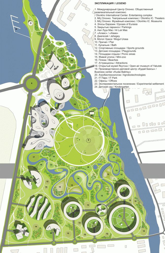 Manifestation of the myth landscape architecture for Site plan design