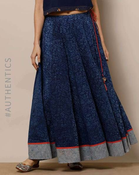 142d1c4201 Indie Picks Indigo Flared Handblock Print Dabu Indigo Cotton Flared Skirt