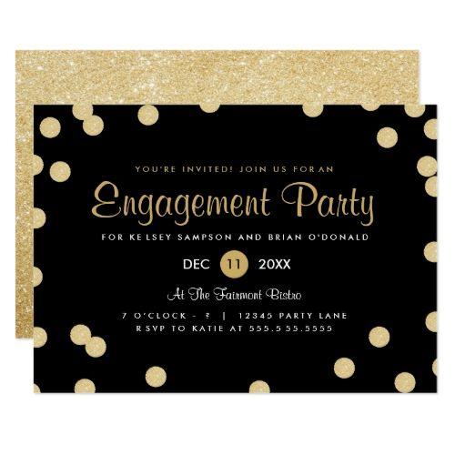 Faux Gold Confetti Engagement Party Invite