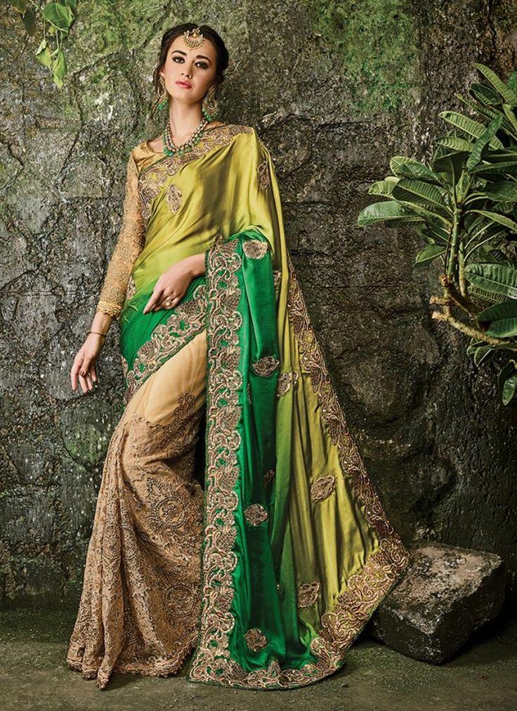 Astonishing Satin Beige Designer Bridal Sarees