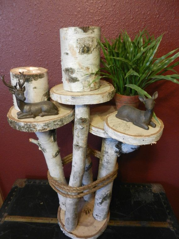 End Table Birch Wood - Furniture, Accent Side Table, Home Decor, Cabin Decor, Stand, Shelf