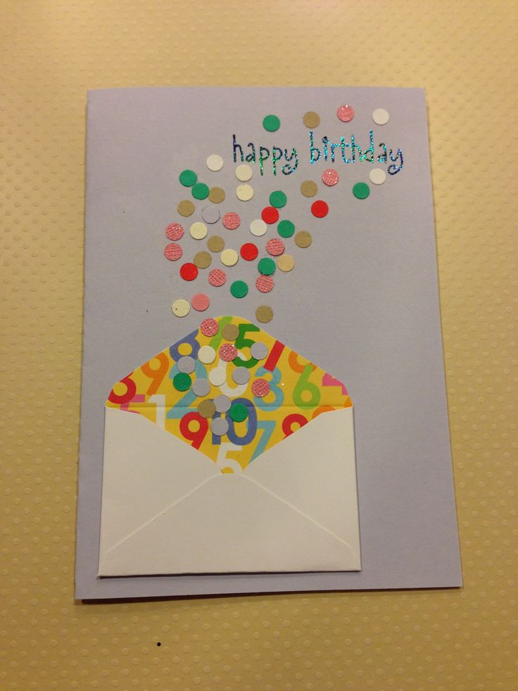 Birthday card with confetti exploding envelope embellishment Could work for Christmas with snowflakes