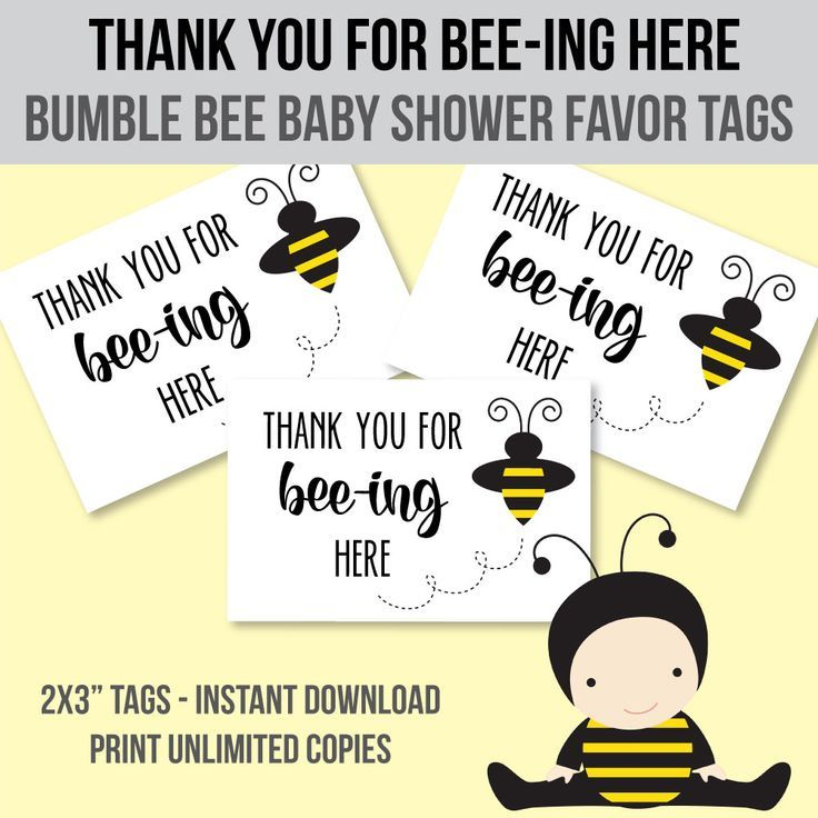 Printable Bumble Bee Baby Shower Thank You Favor Tags - print from home!