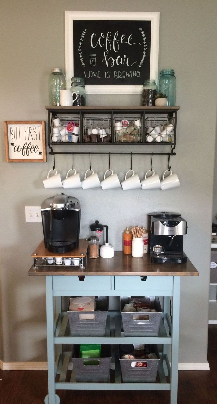 Home Coffee Bar Furniture . Home Coffee Bar Furniture . 48 Stunning Diy Coffee Bar Ideas for Your Home Interior Wine And Coffee Bar, Coffee Bars In Kitchen, Coffee Bar Home, Home Coffee Stations, Coffee Bar Ideas, Office Coffee Station, Kitchen Bars, Diy Coffe Bar, Coffee Station Kitchen