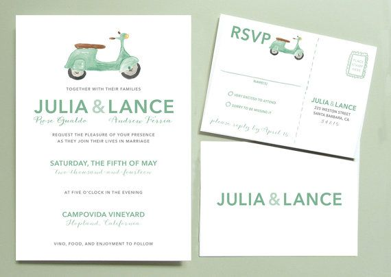 Vespa Scooter Wedding Invitation van LeveretPaperie op Etsy, $5.00
