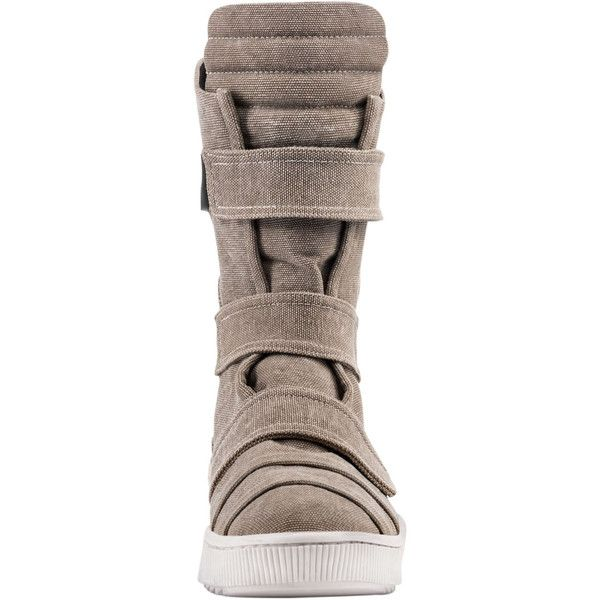 Demobaza Men Cotton Canvas Velcro Sneaker Boots ($455) ❤ liked on Polyvore featuring men's fashion, men's shoes, men's boots, mens shoes, mens velcro shoes, mens boots, mens velcro boots and mens velcro strap shoes