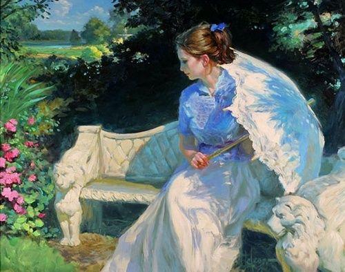 скамья садовая, каменная скамья, место для отдыха в саду, под сенью , девушка с зонтом, зонт от солнца, дамы 19 века