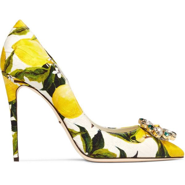 Dolce & Gabbana Crystal-embellished printed jacquard pumps (€365) ❤ liked on Polyvore featuring shoes, pumps, multi, yellow shoes, clear high heel pumps, yellow pointed toe pumps, clear high heel shoes and high heel shoes
