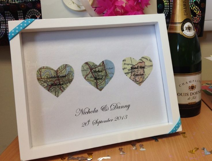 Handmade Wedding Gift Church Reception Honeymoon Heart Maps Laid With Destination Names On