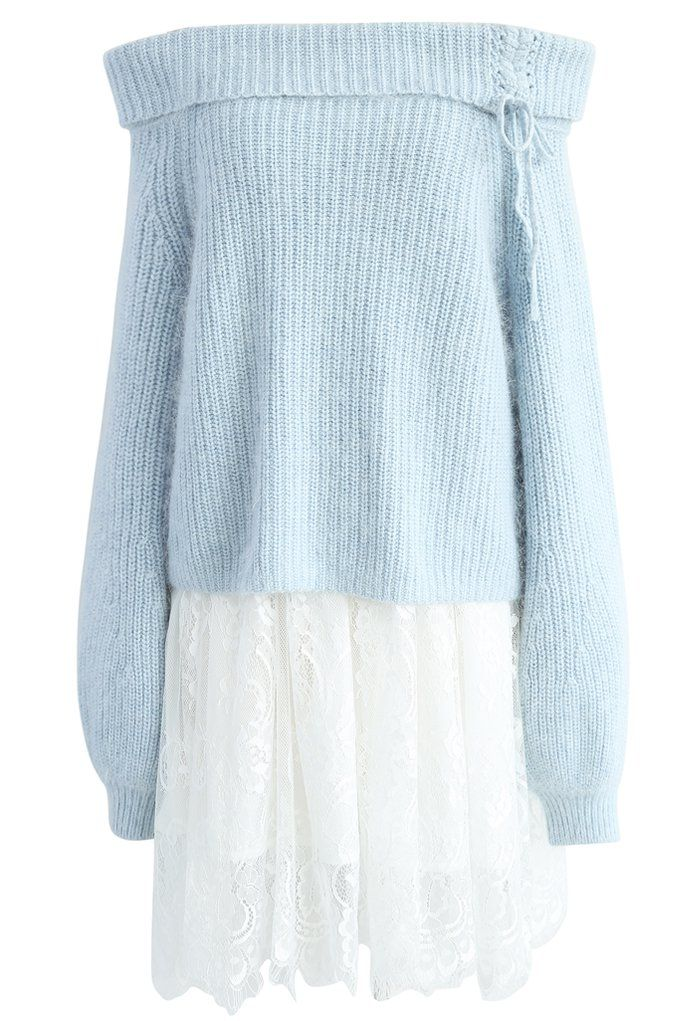 A Lovely Date Sweater and Dress Set in Sky Blue - New Arrivals - Retro, Indie and Unique Fashion