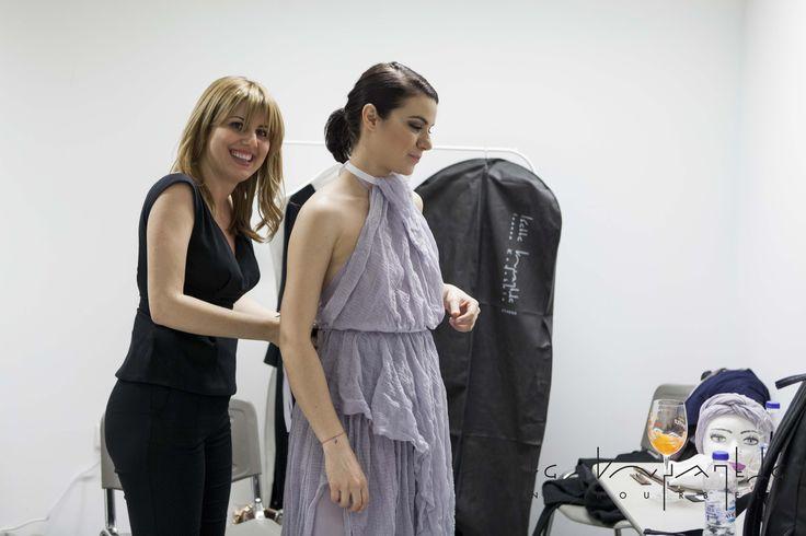 Greek Designer Ioanna Kourbela preparing beautiful Andriana Babali for Madwalk 2017. Discover Anavasis SS17 full collection @ www.xamamclothes.com // #xamamphilosophytowear #chania #fashion #andrianababali #ioannakourbela #madwalk2017 #backstage #dress #thefashionmusicproject #aperolspritz