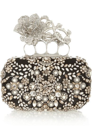 Alexander McQueen Knuckle Swarovski Pearl and Crystal embellished Silk Box Clutch