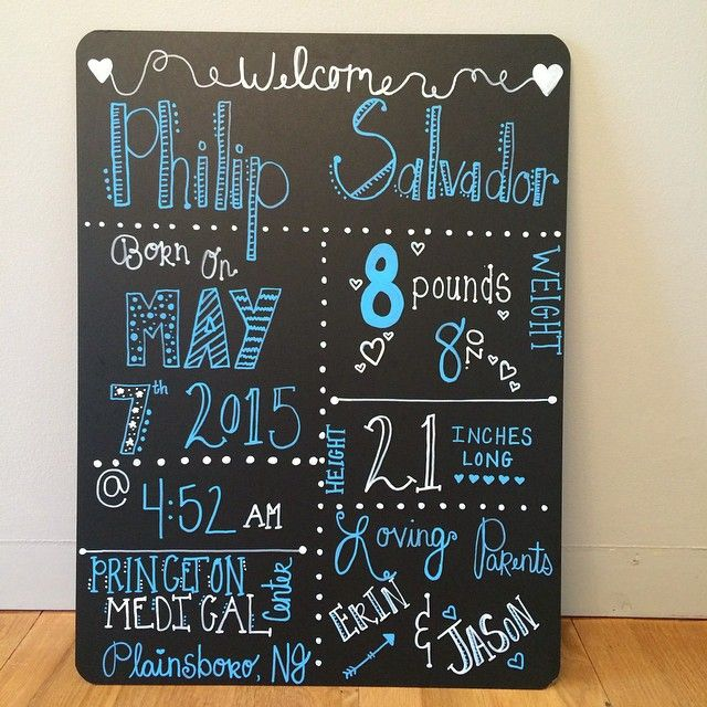 Welcome baby board! Perfect gift for new parents! Such a fun way to welcome a new baby into the world! #welcomebabyboard #newbabychalkboard #babygift #babychalkboard