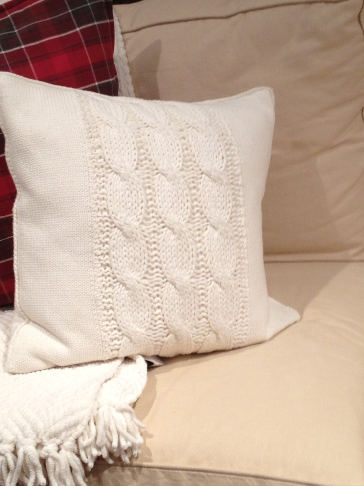 A beautiful knitted pillow at Pottery Barn. Wondering if I could recreate this somehow on my own.