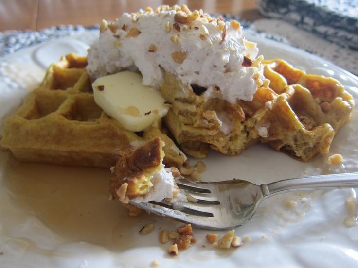 Pumpkin Waffles with Spiced Whipped Cream | Pumpkin Waffles, Waffles ...