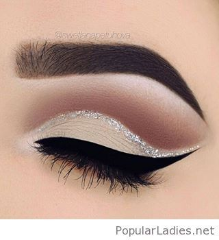 Nude eye make-up and silver glitter detail                                                                                                                                                                                 More