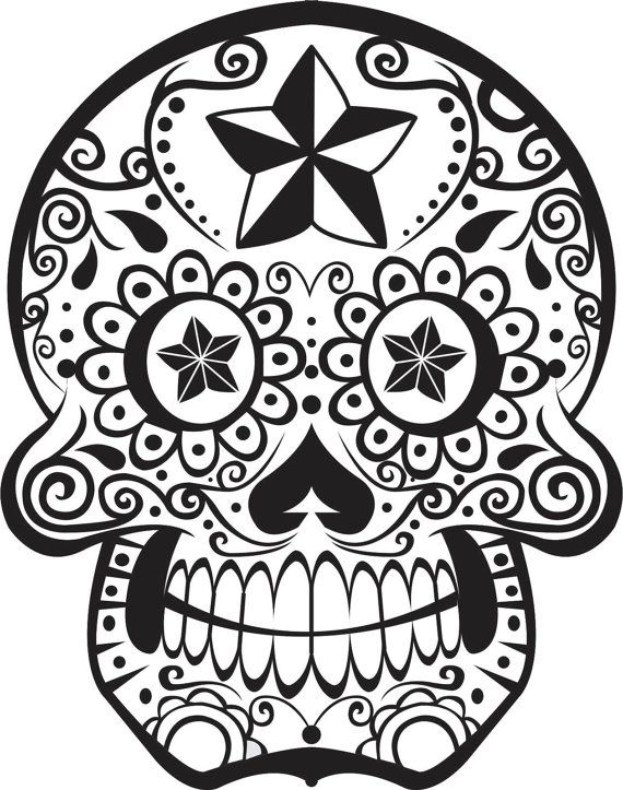 104 best day of the dead coloring images on pinterest | sugar ... - Simple Sugar Skull Coloring Pages
